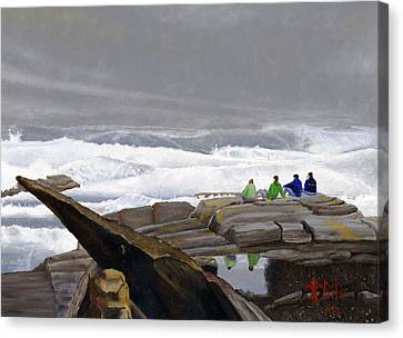 The Wave Watchers Canvas Print by Dominic White
