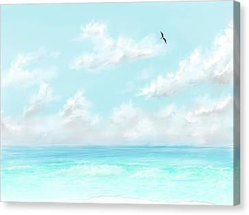Canvas Print featuring the digital art The Waves And Bird by Darren Cannell