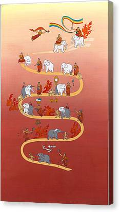 The Way Of The White Elephant The Way To Meditation Canvas Print by Berty Sieverding
