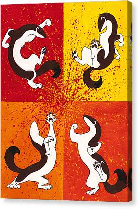 Ferret Canvas Print - The Weasel Dance by Beth Davies