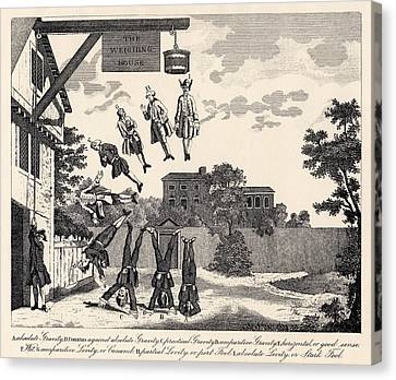The Weighing House By William Hogarth Canvas Print by Vintage Design Pics