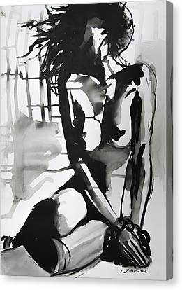 Canvas Print featuring the painting The Weight by Jarko Aka Lui Grande