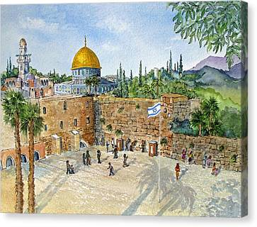 Jerusalem Canvas Print - The Western Wall And Dome Of The Rock In Jerusalem by Bonnie Sue Schwartz