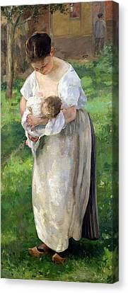 Feeding Canvas Print - The Wet Nurse by Alfred Roll
