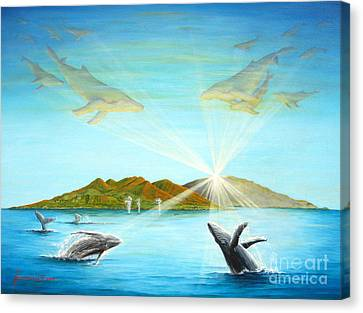 The Whales Of Maui Canvas Print by Jerome Stumphauzer