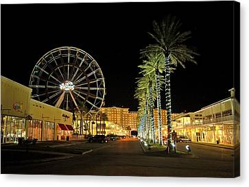 The Wharf At Night  Canvas Print by Michael Thomas