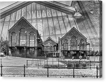 The Wharf Cardiff Bay Mono Canvas Print