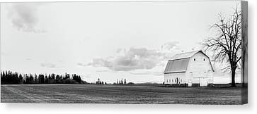 Canvas Print featuring the photograph The White Barn by Rebecca Cozart