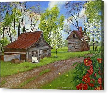 The White Bench Canvas Print by Peter Muzyka