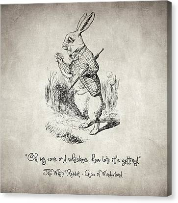 The White Rabbit Quote Canvas Print by Taylan Apukovska