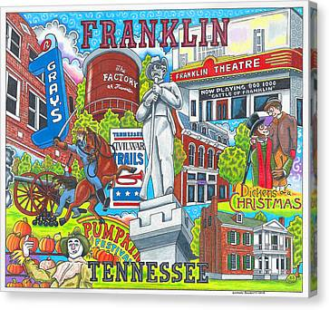 The Who, What And Where Of Franklin, Tennessee Canvas Print by Shawn Doughty