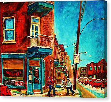 Montreal Winter Scenes Canvas Print - The Wilensky Doorway by Carole Spandau