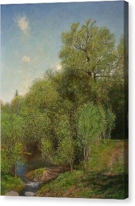 Canvas Print featuring the painting The Willow Patch by Wayne Daniels