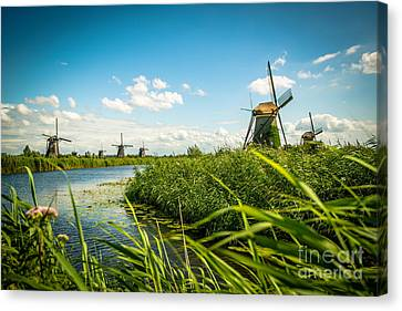 The Wind Mills Of Kinderdjik Canvas Print by Hannes Cmarits