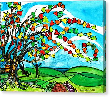 The Windy Tree Canvas Print by Genevieve Esson