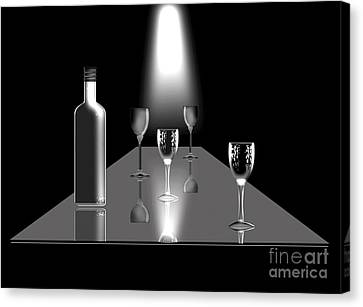 Glass Table Reflection Canvas Print - The Wine Bar by Peter McHallam