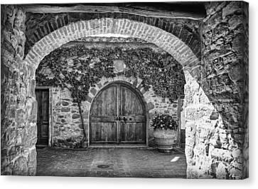 The Winery's Entrance B/w Canvas Print
