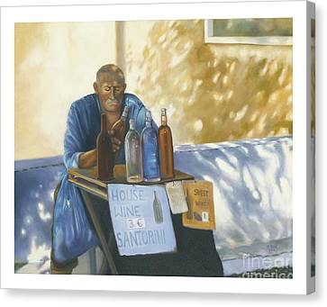 Canvas Print featuring the painting The Wineseller by Marlene Book
