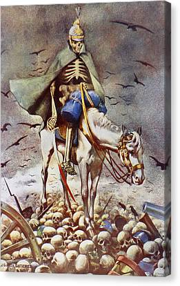 The Winner. Death Riding Over Human Canvas Print by Vintage Design Pics