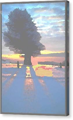 Canvas Print featuring the digital art The Winter Lonely Tree by Dr Loifer Vladimir