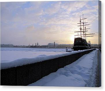 Canvas Print featuring the pyrography The Winter Ship by Yury Bashkin