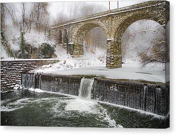 Wissahickon Canvas Print - The Wissahickon Creek At Ridge Avenue In The Snow by Bill Cannon