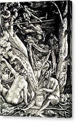 Creepy Canvas Print - The Witches At The Sabbath by Hans Baldung Grien
