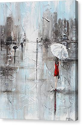 The Woman In Red Canvas Print by Christine Krainock