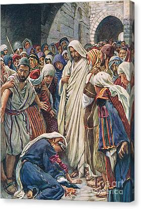 The Woman Who Touched The Hem Of His Garment Canvas Print by Harold Copping