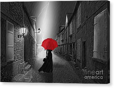 The Woman With The Red Umbrella Canvas Print by Monika Juengling