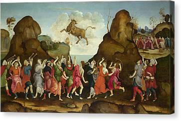 The Worship Of The Egyptian Bull God Apis Canvas Print by Follower of Filippino Lippi