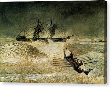 Stormy Canvas Print - The Wreck Of The Iron Cloud, 1881 by Winslow Homer