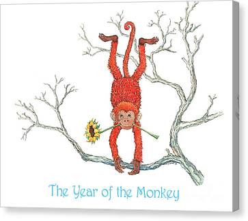 Year Of The Monkey Canvas Print - The Year Of The Monkey by Nonna Mynatt