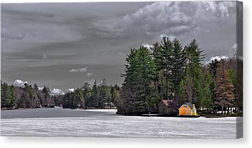 The Yellow Boathouse In Early Spring Canvas Print by David Patterson