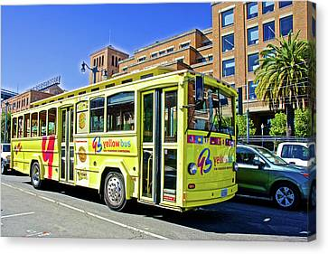 Bus In San Francisco Canvas Print - The Yellow Bus On  Embarcadero In San Francisco-califonria by Ruth Hager
