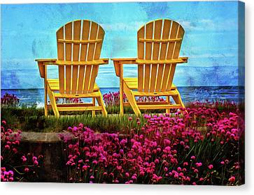 The Yellow Chairs By The Sea Canvas Print by Thom Zehrfeld