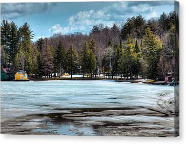 The Yellow Lighthouse On Old Forge Pond Canvas Print by David Patterson
