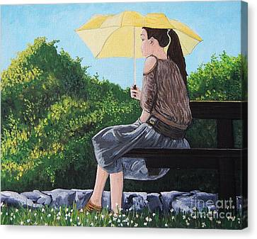 The Yellow Umbrella Canvas Print by Reb Frost