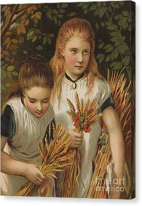 The Gleaners Canvas Print - The Young Gleaners by English School