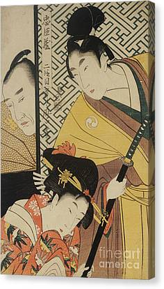 The Young Samurai, Rikiya, With Konami And Honzo Partly Hidden Behind The Door Canvas Print by Kitagawa Utamaro