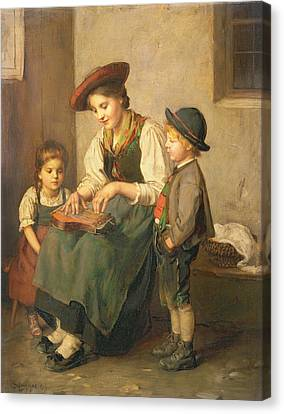 The Zither Player Canvas Print by Franz von Defregger