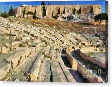 Theater Of Dionysus Canvas Print by George Atsametakis