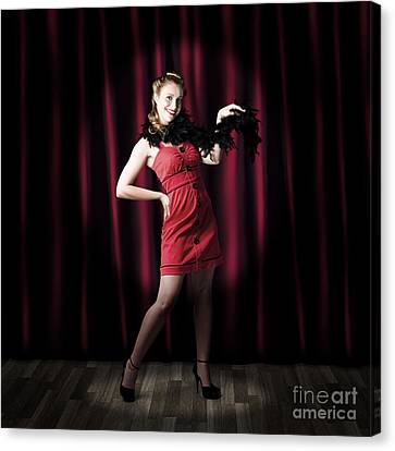 Theater Performer In Front Of Red Stage Curtains Canvas Print by Jorgo Photography - Wall Art Gallery
