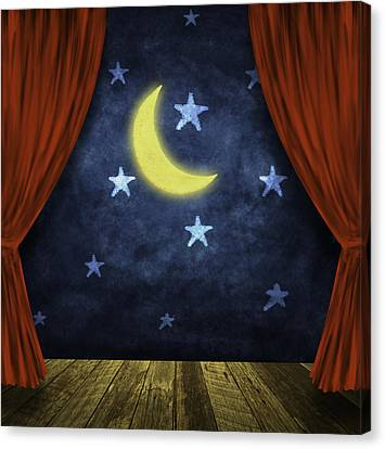 Theater Stage With Red Curtains And Night Background  Canvas Print by Setsiri Silapasuwanchai