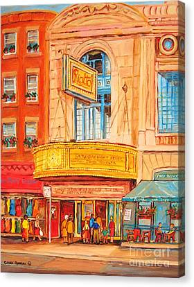 Theatre Rialto Montreal Urban City Scene Vintage Cinema Canadian Painting Carole Spandau Canvas Print by Carole Spandau