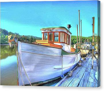 Thee Old Dragger Boat Canvas Print by Thom Zehrfeld