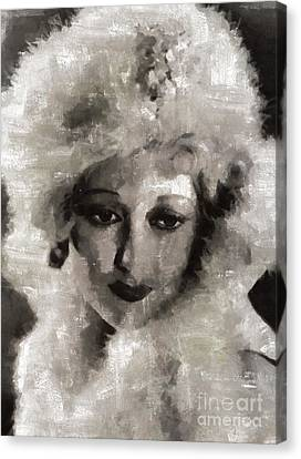 Thelma Todd, Vintage Actress By Mary Bassett Canvas Print by Mary Bassett