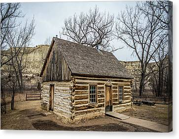 Log Cabin Interiors Canvas Print - Theodore Roosevelt Cabin Side by Paul Freidlund
