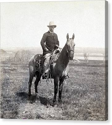Theodore Roosevelt Horseback - C 1903 Canvas Print by International  Images