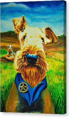 There Is A New Airedale In Town Canvas Print
